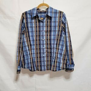 Foxcroft Plaid Fitted Shirt Size 10 Wrinkle free